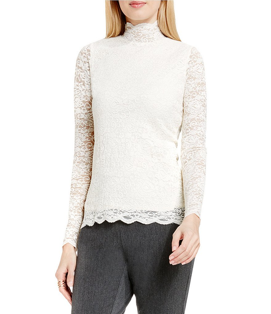 Vince Camuto Mock Neck Scallop Lace Top
