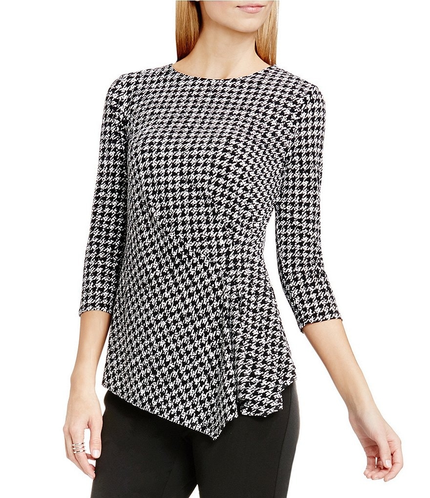 Vince Camuto Check Memoir Side Ruched Top