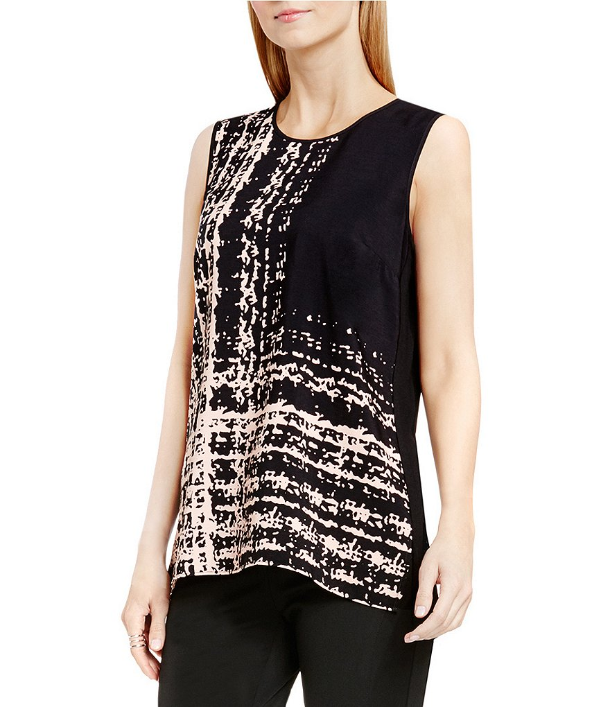 Vince Camuto Textural Track Mix Media Top