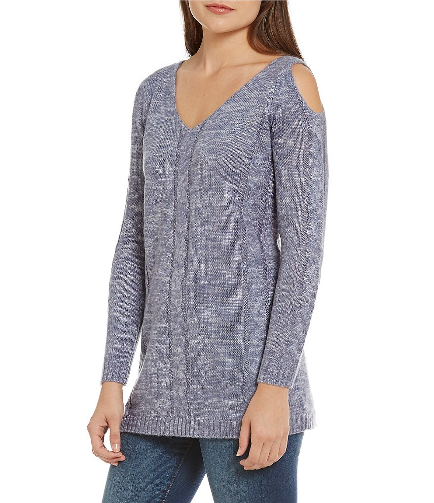 Cupio Cold Shoulder Cable Knit Cold-Shoulder Sweater