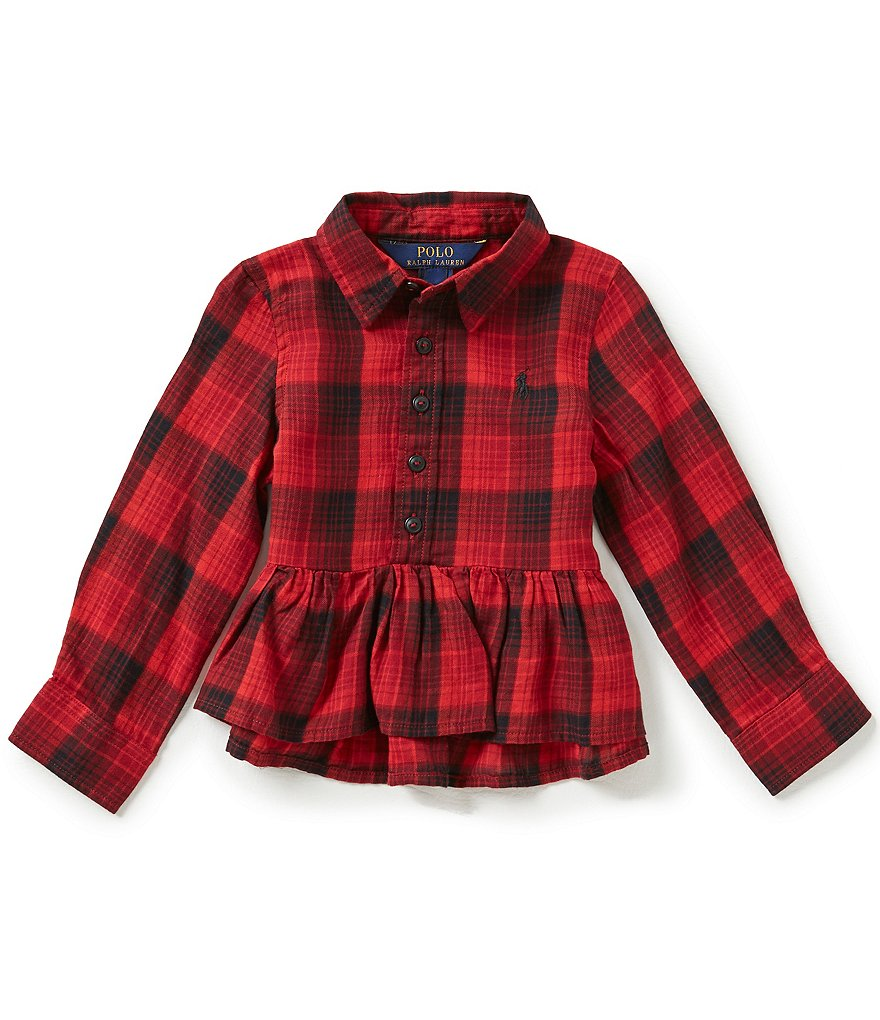 Ralph Lauren Childrenswear Little Girls 2T-6X Plaid Peplum-Hem Gauze Shirt
