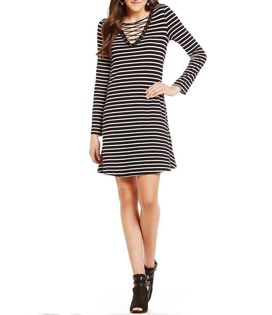 C&V Chelsea & Violet Striped Lace-Up Swing Dress