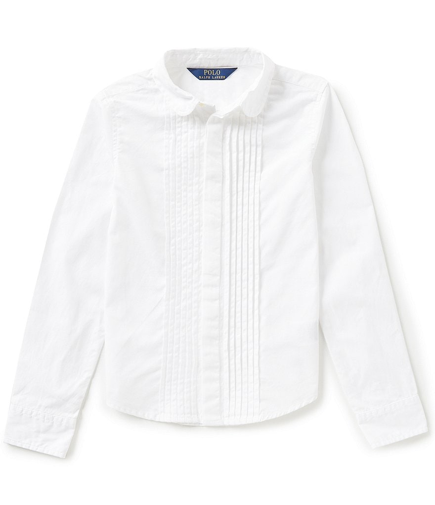 Ralph Lauren Childrenswear Big Girls 7-16 Pleated Broadcloth Shirt
