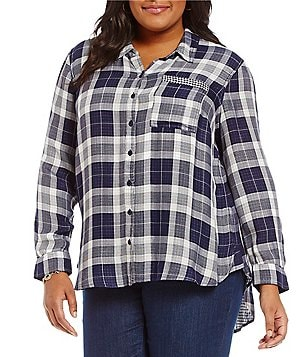 Westbound Plus Point Collar Single Pocket Hi-Lo Button Front Plaid Shirt