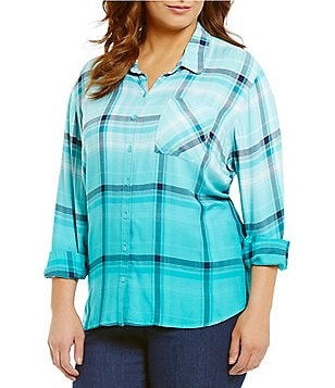 Westbound Plus One Pocket Hi-Low Button-Front Plaid Shirt
