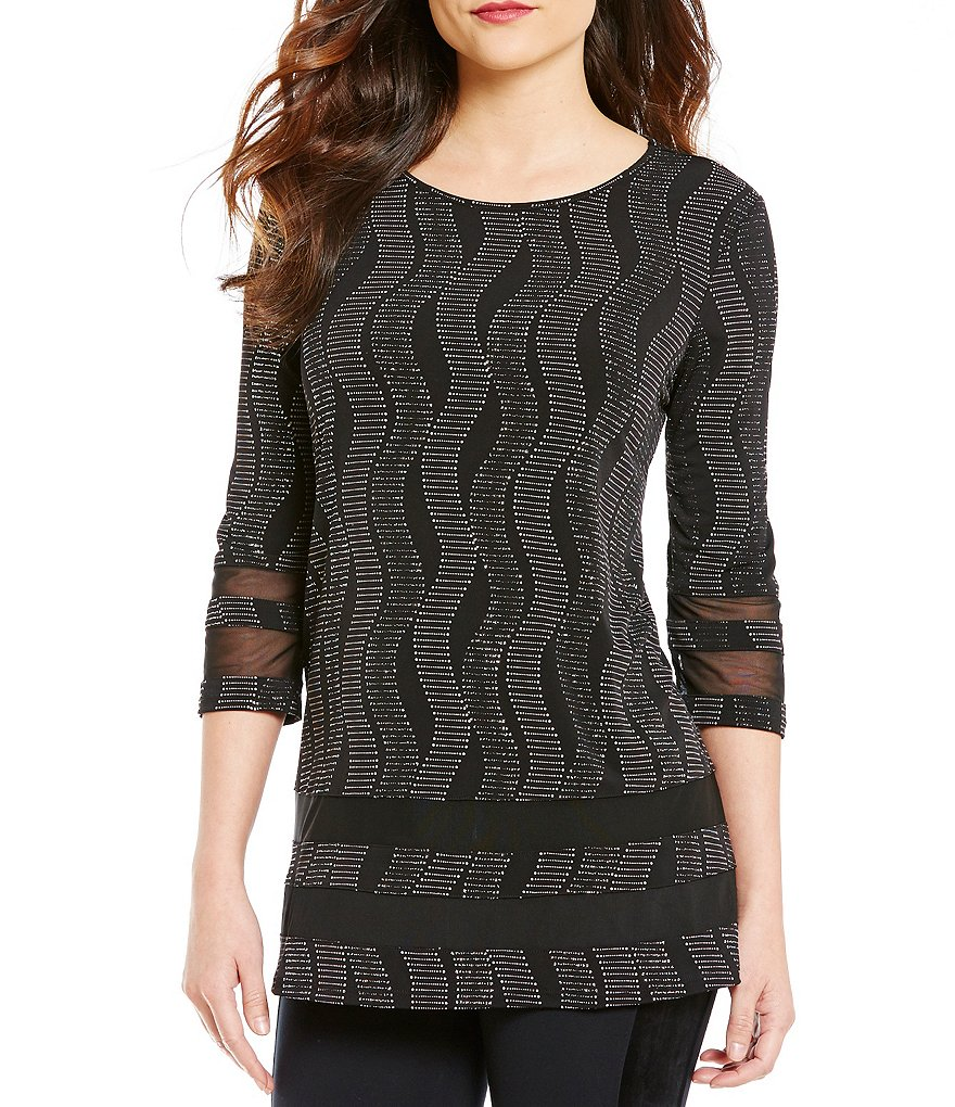 Nicola Glitter Wave 3/4 Sleeve Tunic