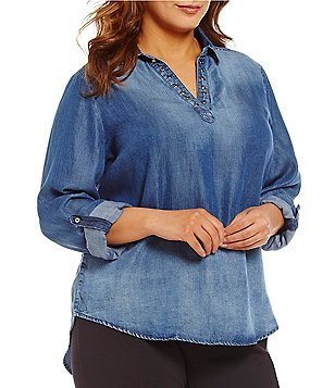 Westbound Plus Roll-Tab Sleeve Split Back Hi-Low Chambray Shirt