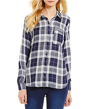 Westbound Petites Point Collar Single Pocket Hi-Lo Button Front Plaid Shirt