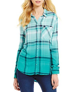 Westbound Petites One Pocket Hi-Low Button-Front Plaid Shirt