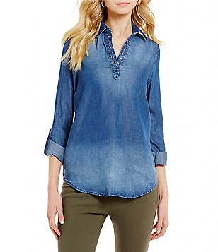 Westbound Petites Long Roll-Tab Sleeve Split Back Hi-Low Hem Denim Shirt