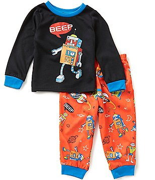 Komar Kids Little Boys 2T-4T Solid Robot Pajama Top & Printed Pajama Pants