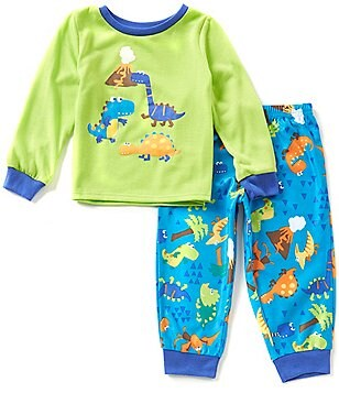 Komar Kids Little Boys 2T-4T Dinosaur Pajama Top & Printed Pants Set