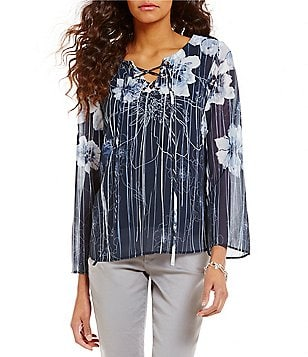 Nicola Printed Lace-Up Long Sleeve Tunic
