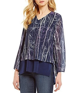 Nicola V-Neck Long Sleeve Printed Double Layer Tunic
