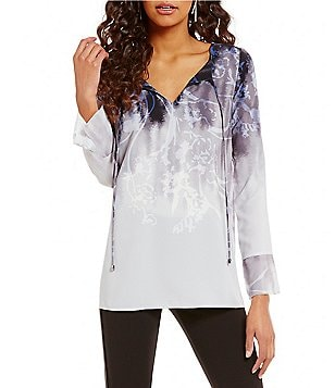 Nicola Printed V-Neck Long Sleeve Tunic