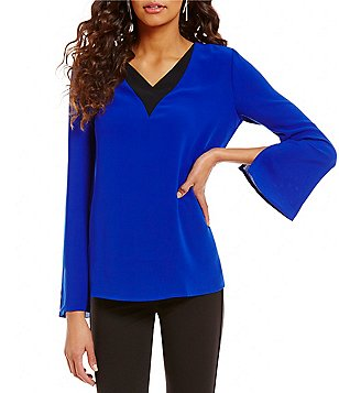 Nicola Contrast Inset V-Neck Long Sleeve Tunic