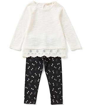 Copper Key Little Girls 4-6X Lace-Hem Top and Leggings Set