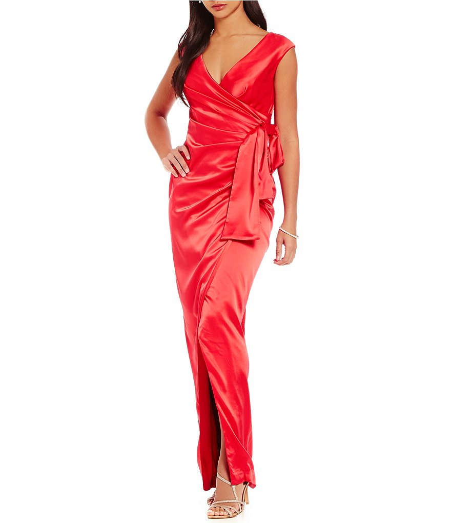 Kay Unger Draped Stretch Satin Side-Tie Gown