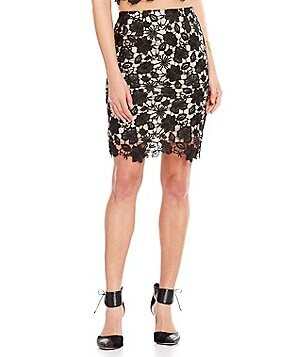 Lucy Paris Floral Lace Pencil Skirt