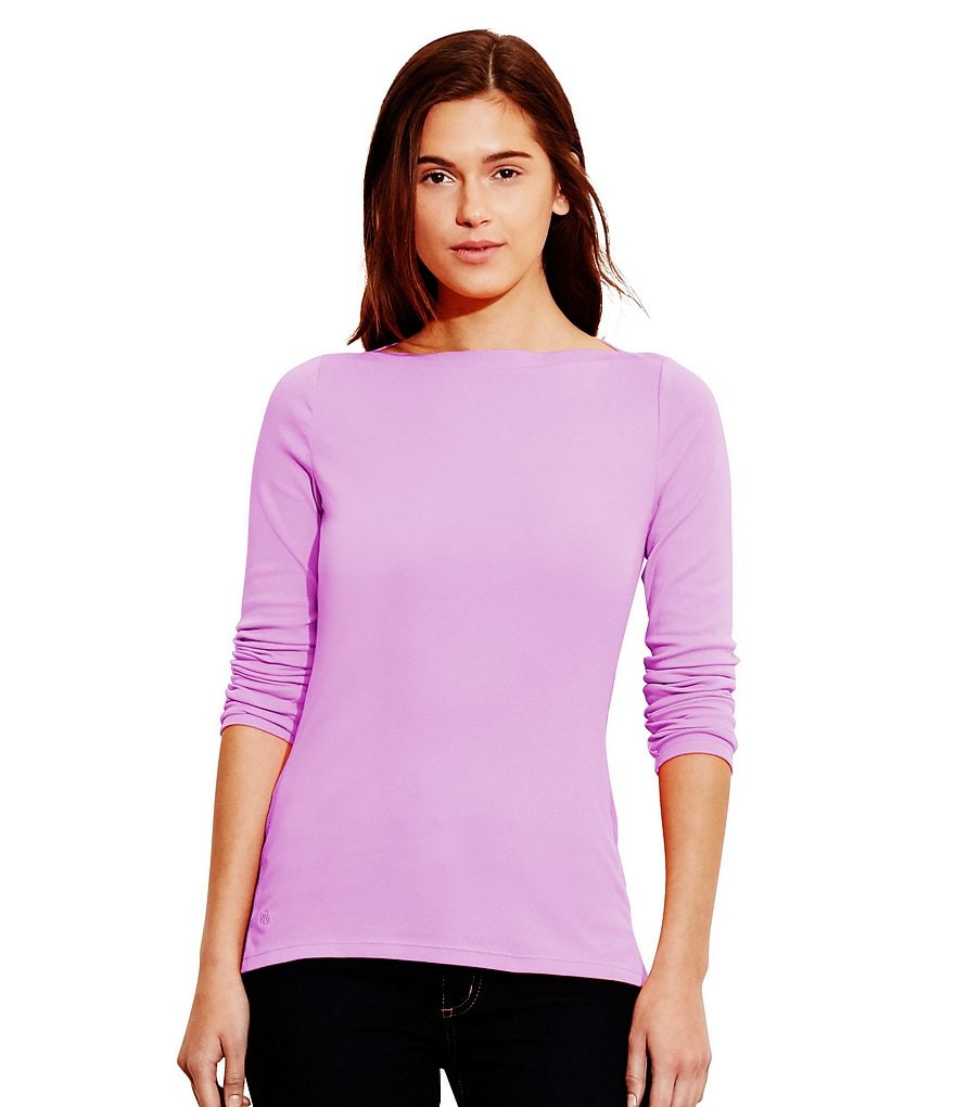 Lauren Ralph Lauren Stretch-Cotton Rib Knit Boatneck Top
