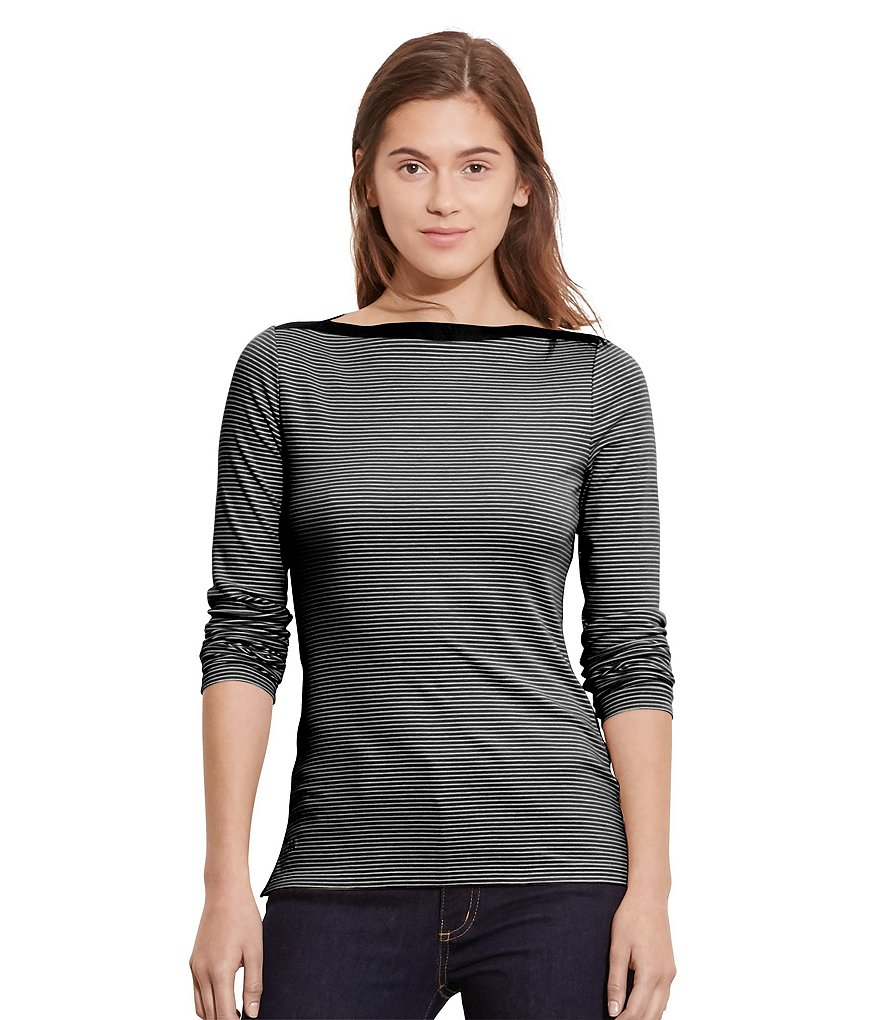 Lauren Ralph Lauren Stretch-Cotton Stripe Rib Knit Boatneck Top