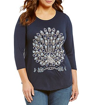 Lucky Brand Plus Peacock Embellished 3/4 Sleeve Graphic Tee
