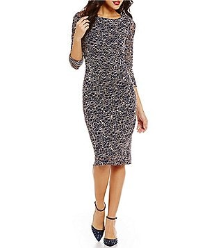 Jessica Howard 3/4 Sleeve Side Ruched Lace Sheath Dress