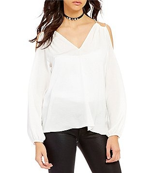 devlin Bristol V-Neck Long Sleeve Cold-Shoulder Solid Charmeuse Blouse