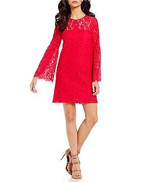 devlin Cassie Lace Bell Sleeve Sheath Dress