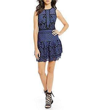 devlin Stacey Two-Toned Fit-and-Flare Scalloped Lace Mini Dress