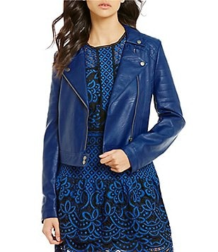 devlin Leon Faux-Leather Notch Lapel Moto Jacket