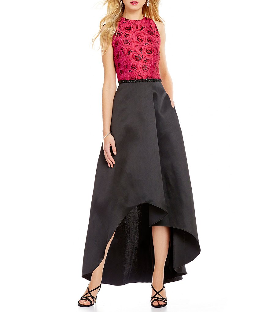 Ignite Evenings Sleeveless Brocade Top Beaded Waist Banded Gown