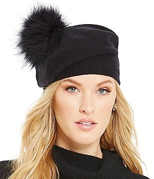 kate spade new york Feather Marabou Pom Beret