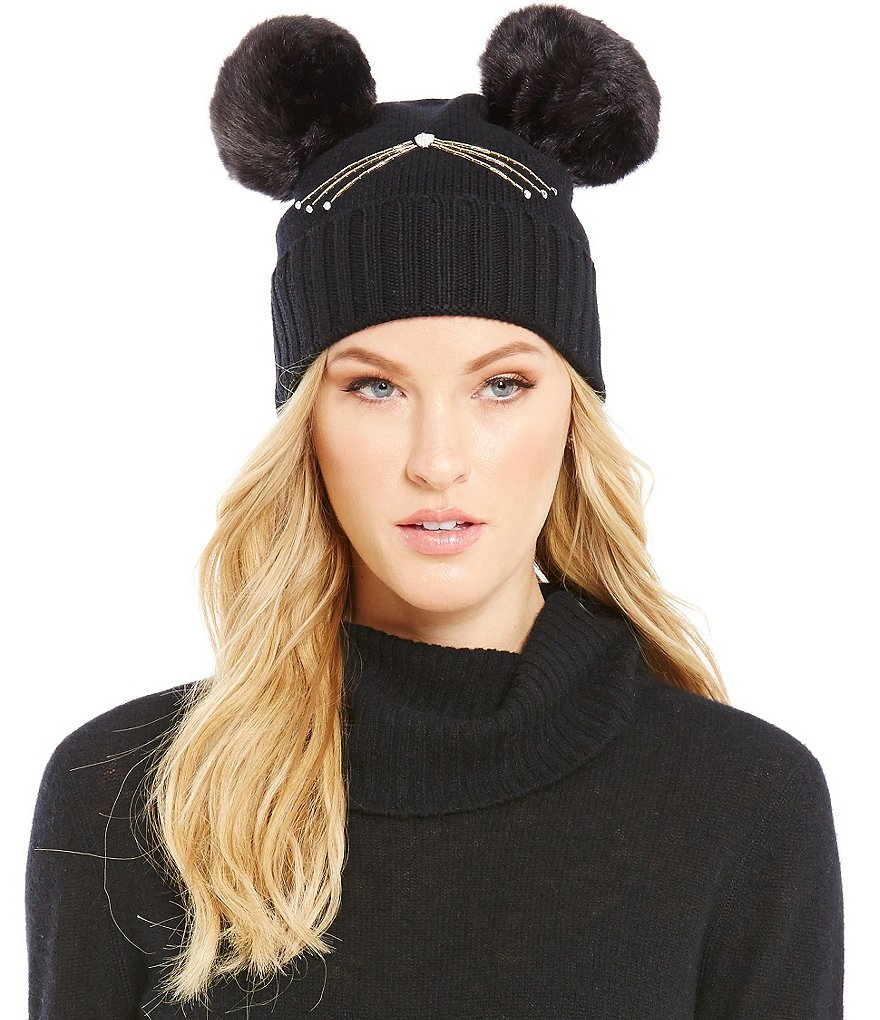 kate spade new york Embellished Cat Beanie with Faux-Fur Pom Details