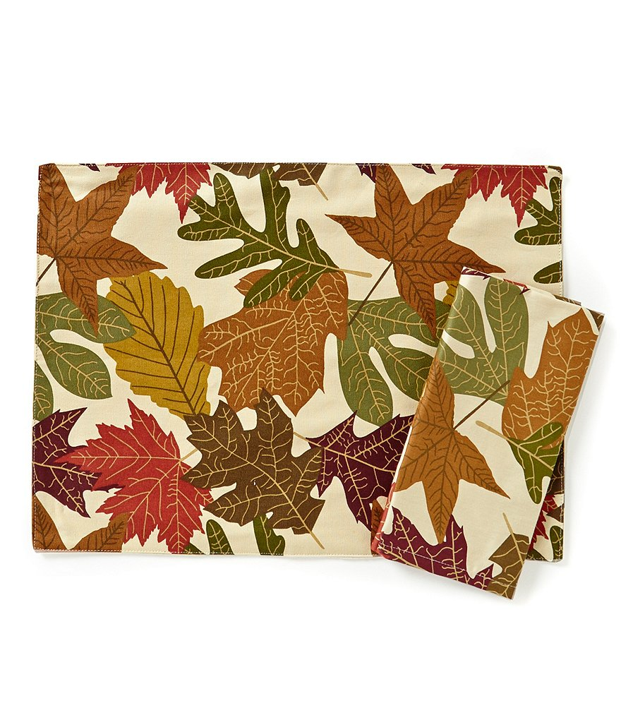 Aman Imports Harvest Leaf-Print Table Linens