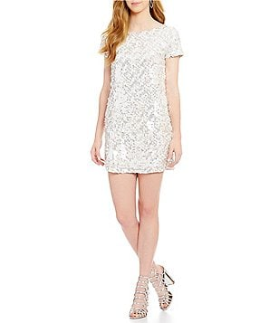 French Connection Snow Boat Neck Sequin Dress