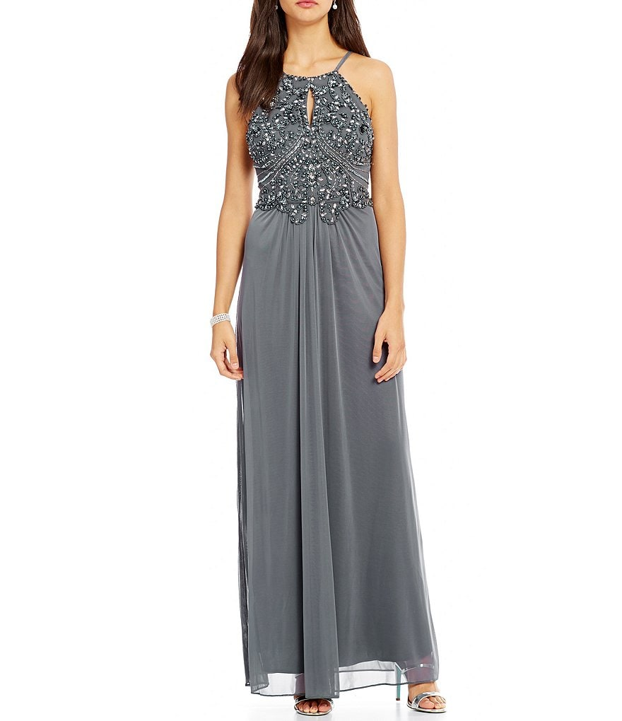 Blondie Nites Beaded Keyhole Bodice Long Dress