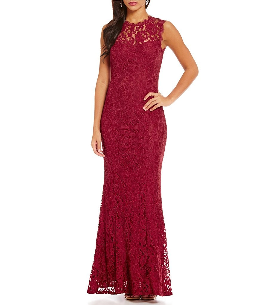 Aidan Aidan Mattox Illusion Neck Lace Sleeveless Gown