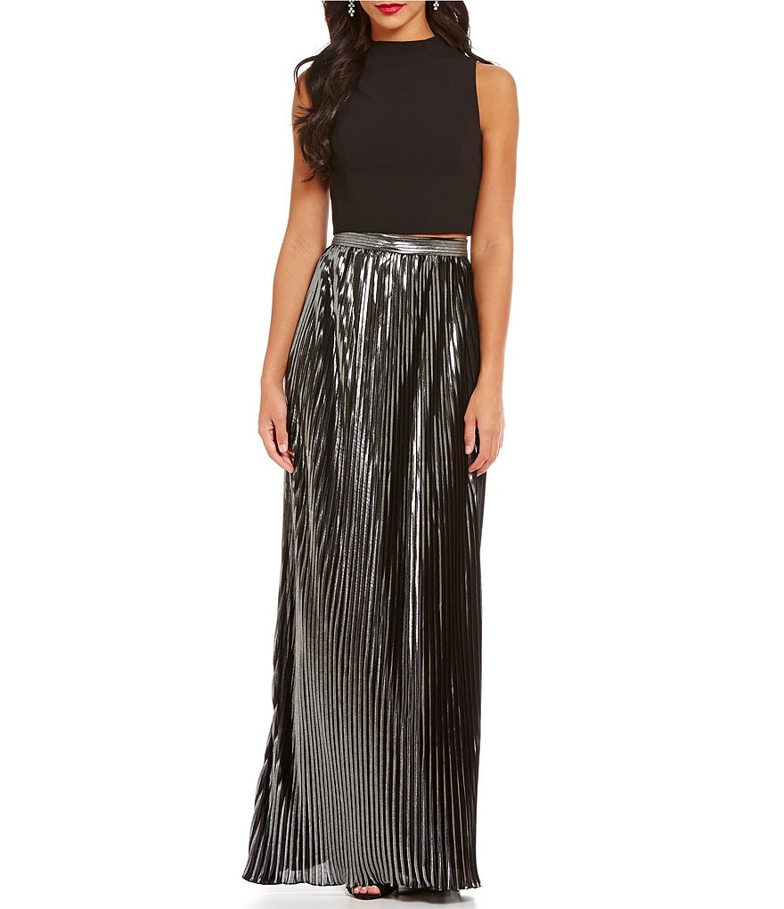 Aidan Aidan Mattox 2-Piece Cropped Top Pleated Skirt