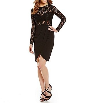 Aidan Aidan Mattox Round Neck Lace Sheer Long Sleeve Dress