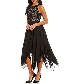 Aidan Aidan Mattox Lace Chiffon Asymmetrical Hem Dress