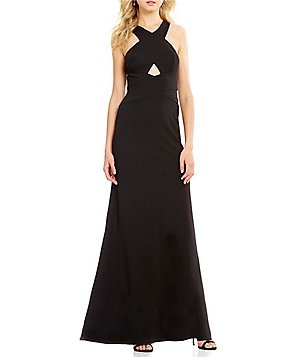 Aidan Aidan Mattox Cross Front Halter Cut-Out Neck Sleeveless Gown
