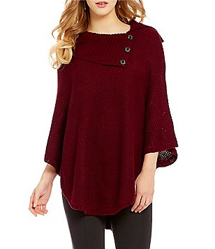 I.N. San Francisco Button Down Cowl Neckline Poncho Sweater