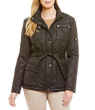 Pendleton Quilted Nylon Snap Pocket Belted Coat
