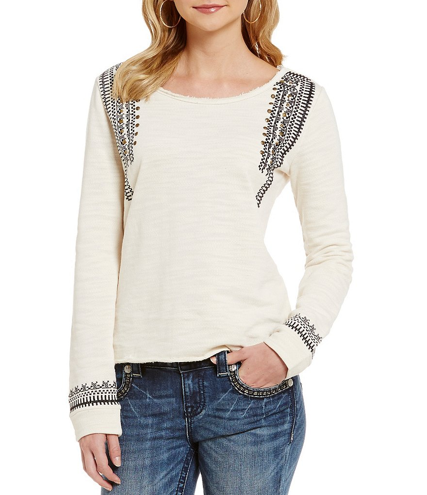Miss Me Studded Embroidered Top
