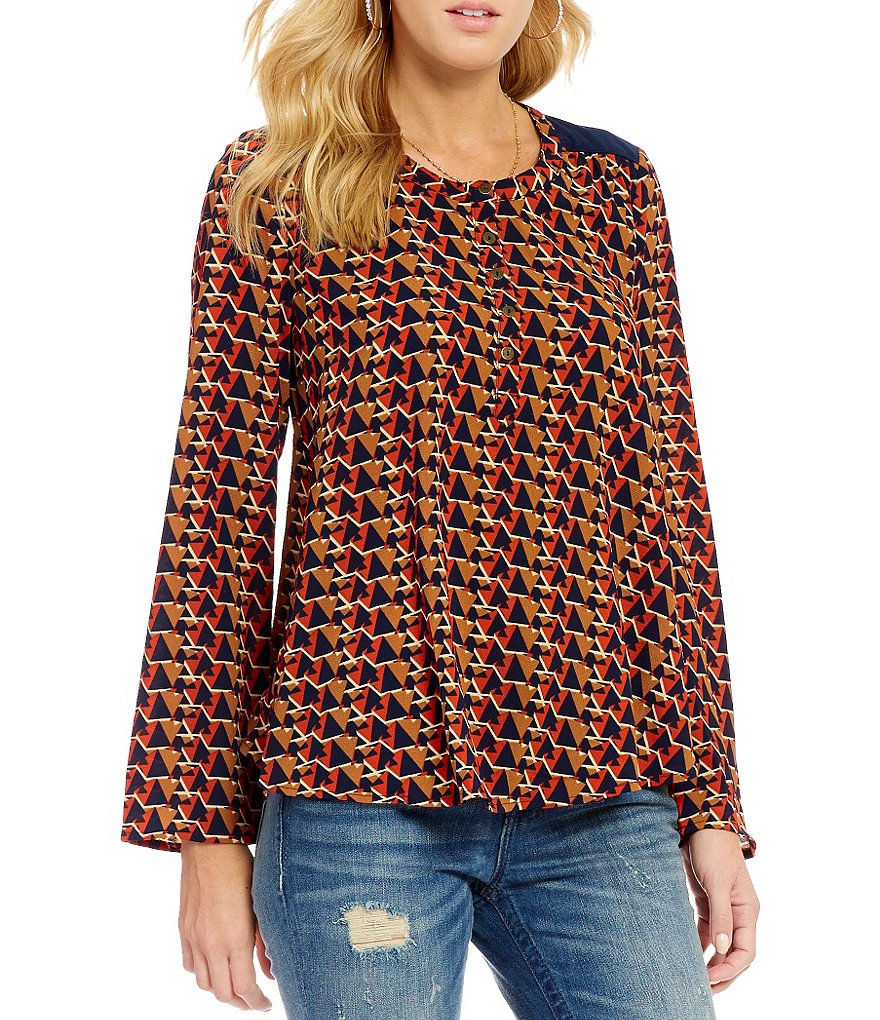 Miss Me Printed Bell-Sleeve Open-Back Top