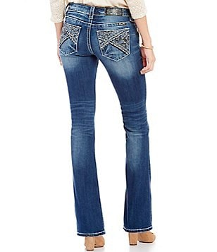 Miss Me Abstract-Embroidered-Pocket Bootcut Denim Jeans