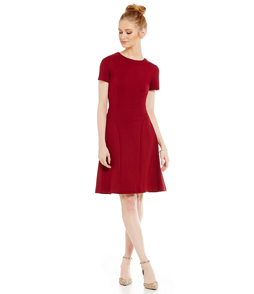 Adrianna Papell Ponte Fit and Flare Short Sleeve Dress