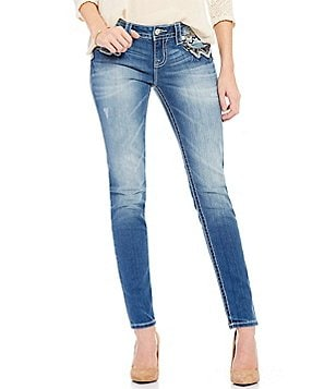 Miss Me Skinny-Fit Mid-Rise Embellished Pocket Denim Jeans