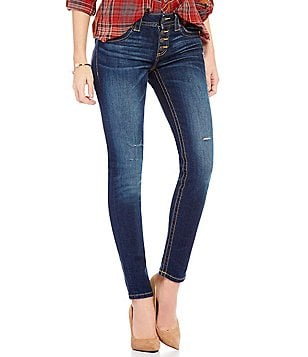 Miss Me Skinny-Fit Button-Front Mid-Rise Distressed Denim Jeans